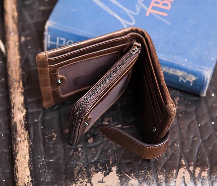 WL253-2 Мужское портмоне на застежке из натуральной кожи фото 06