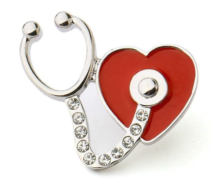 Брошь Стетоскоп и сердце (серебряный цвет)