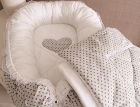 Комплект Babynest + одеяло серый в горох