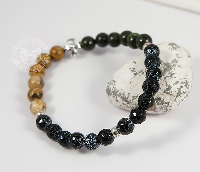BS731-1 Яркий мужской браслет из разных камней ручной работы фото 04