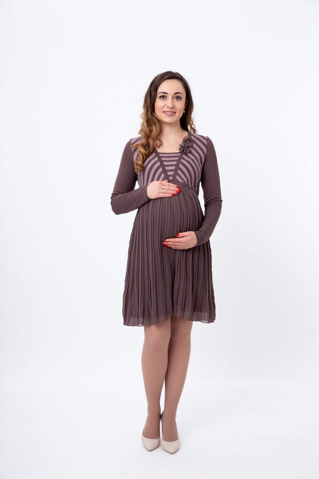 Платье 05703 коричневый-розовый