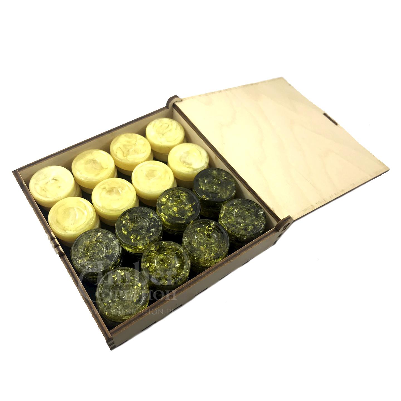 Шашки-нарды (цвет зелёный янтарь - слоновая кость) 5 комплектов