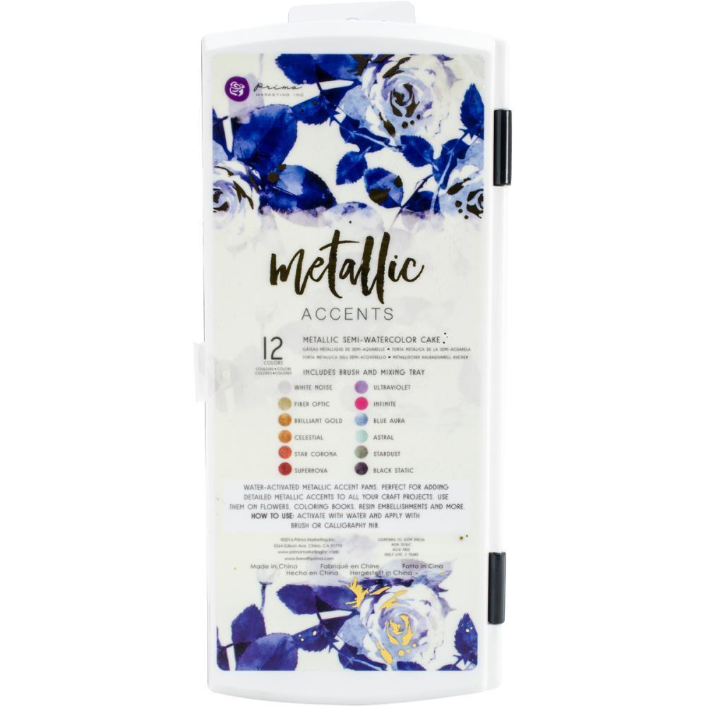 Акварельные краски Prima Marketing Metallic Accents Semi-Watercolor Paint Set 12шт. -Cakes & Brush