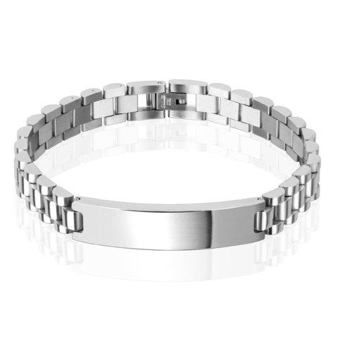 Стильный модный стальной мужской браслет с пластиной под гравировку Spikes SSBQ-5435