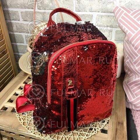 Рюкзак красный с пайетками меняющий цвет Красный-Серебристый с молнией LOLA
