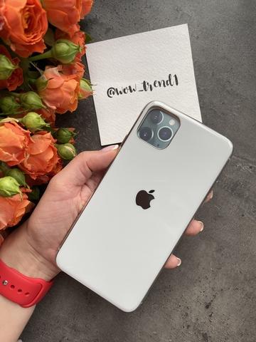 Чехол iPhone 11 Pro Glass Silicone Case Logo /white/