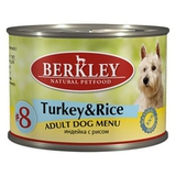 BERKLEY ADULT Turkey & Rice Консервы для собак №8 Индейка с рисом 6х200 г. (75004)