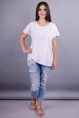 Джулія. Стильна блузка великих розмірів. Білий.
