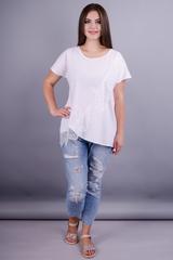 Джулия. Стильная блузка больших рамеров. Белый.
