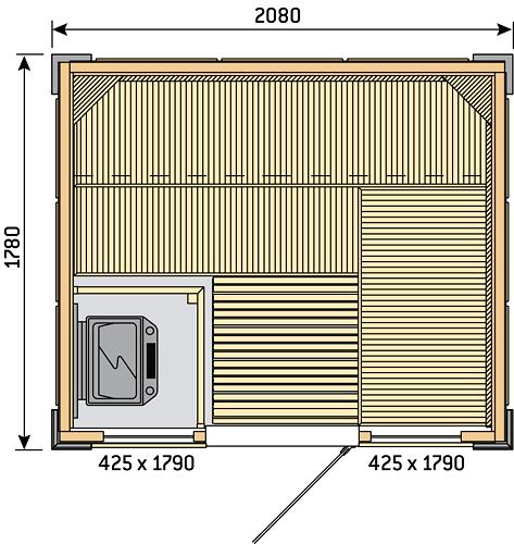 Готовая сауна Harvia Rubic S2118RC, фото 2