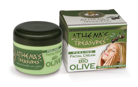 Скраб для лица ATHENA'S TREASURES с органическим оливковым маслом и измельченными косточками оливы