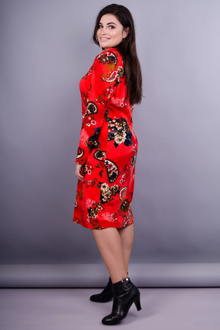Максі принт. Жіноча сукня великих розмірів. Огірок червоний.