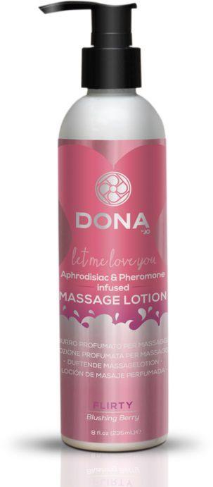 Массажные масла и свечи: Увлажняющий массажный лосьон DONA Flirty Blushing Berry - 235 мл.