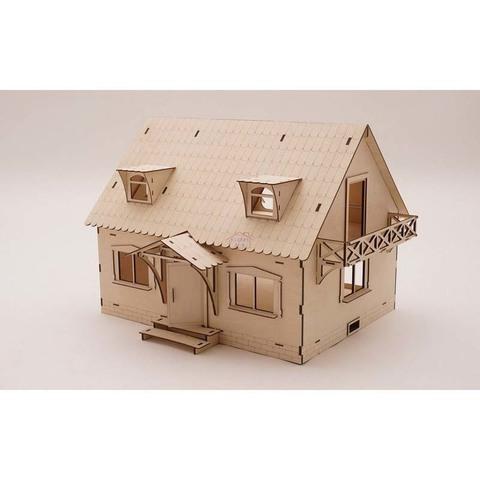 """Деревянный конструктор """"Кукольный домик с мансардой"""" с набором для раскрашивания и клеем"""
