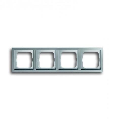 Рамка на 4 поста. Цвет Нержавеющая сталь. ABB(АББ). Pure Сталь(Пьёр Сталь). 1754-0-4320