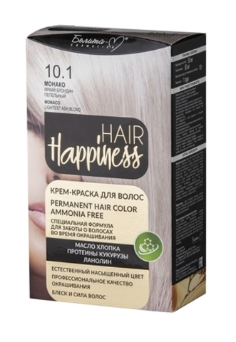 Белита-М Hair Happiness Крем краска для волос №10.1 Монако Яркий блондин пепельный