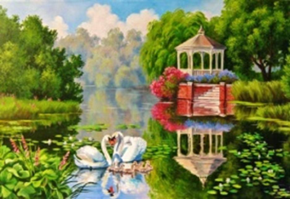 Картина раскраска по номерам 40x50 Лебеди на озере у ...