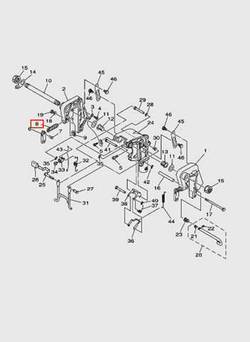 Зажим винтовой  для лодочного мотора T15, OTH 9,9 SEA-PRO (13-8)
