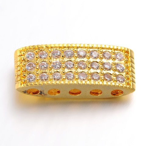 Разделитель на несколько нитей c цирконами 20 мм цвет золото