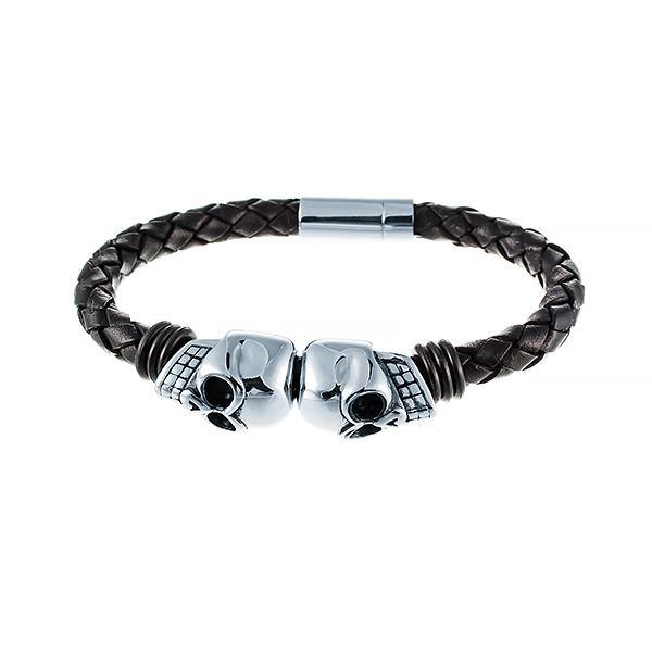 Кожаный браслет с черепами JV 232-0118