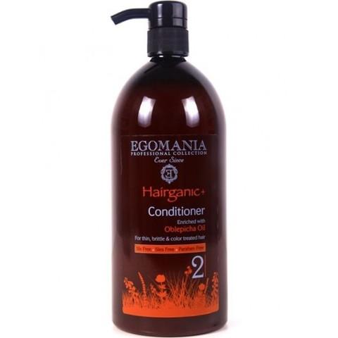 Кондиционер с маслом облепихи для тонких, ломких и окрашенных волос, Egomania Hairganic,1000 мл.