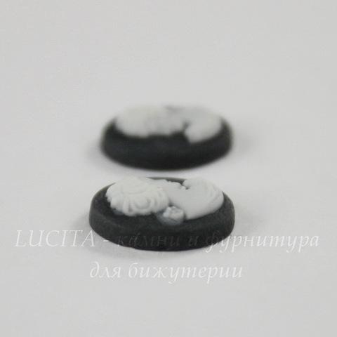 """Камея """"Девушка"""" белого цвета  на черном фоне 10х8 мм, пара"""