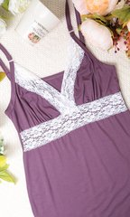 Евромама. Комплект халат и сорочка с кружевом из вискозы, лиловый вид 9