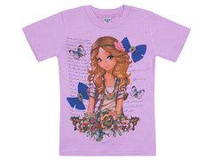 19065-48 футболка для девочек, сиреневая