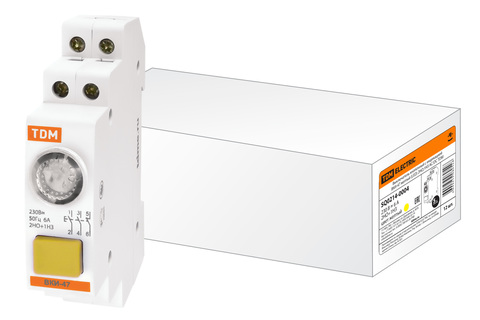 Выключатель кнопочный с индикацией ВКИ-47 желтый (LED) 2НО;1НЗ AC/DC TDM