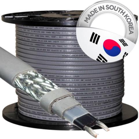 Саморегулируемый нагревательный кабель SRL 16-2 CR , M=16W греющий экранированный кабель для обогрева водопровода, водостоков, крыш, дорог и др. Ю.Корея. SRL 16-2 CR