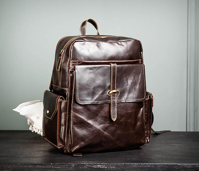 BAG460-2 Мужской городской рюкзак из натуральной кожи