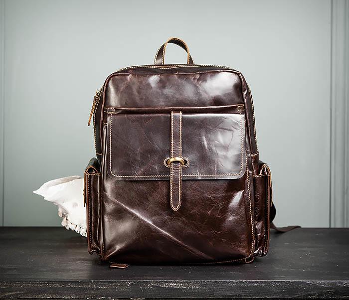 BAG460-2 Мужской городской рюкзак из натуральной кожи фото 02