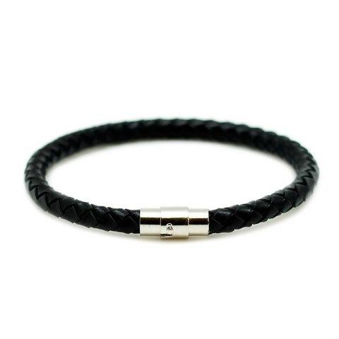 Кожаный чёрный браслет TRONIN N-56BL