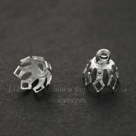 Шапочка для бусины с петелькой (цвет - серебро) 8х7 мм, 10 штук