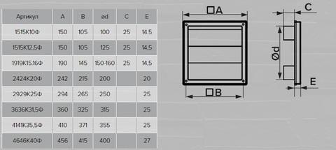 Решетка вытяжная с гравитационными жалюзи (190х190, D150/160) Эра 1919К15.16Ф Серая