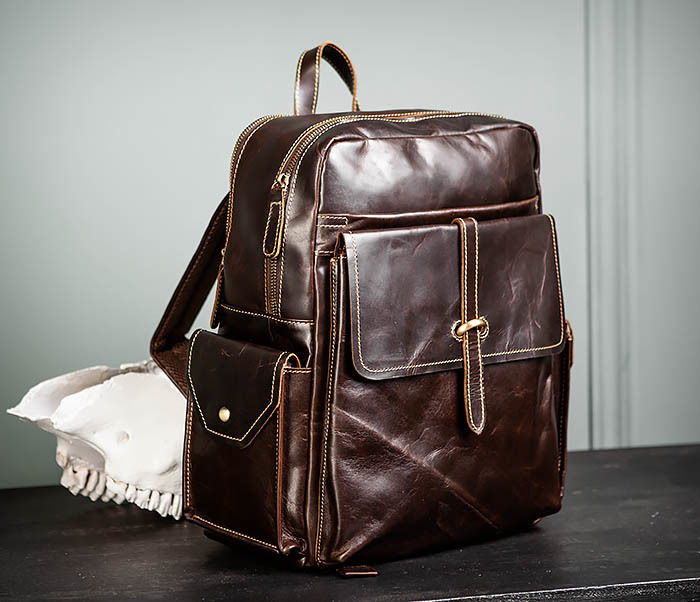 BAG460-2 Мужской городской рюкзак из натуральной кожи фото 03