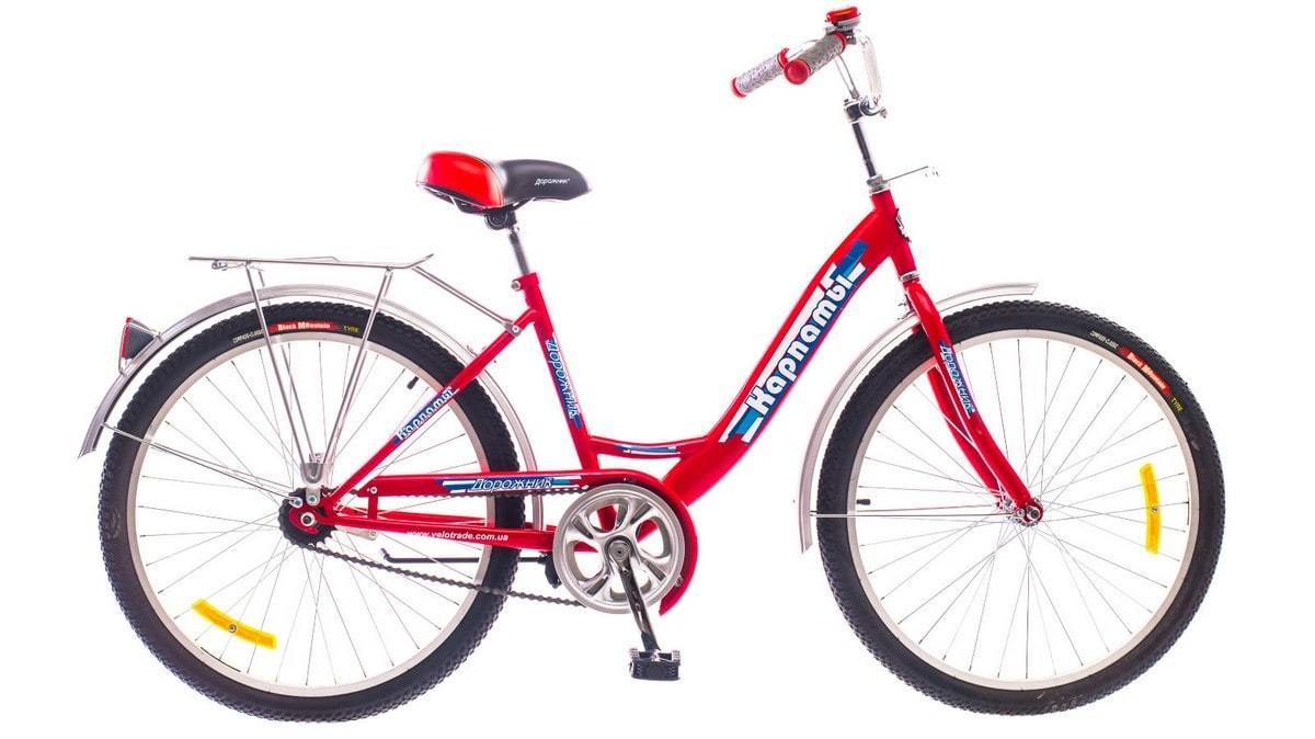 Красный городской универсальный подростковый велосипед Дорожник Карпаты 2015