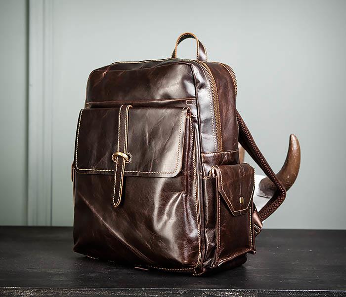 BAG460-2 Мужской городской рюкзак из натуральной кожи фото 04