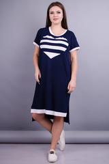 Юта. Оригинальное платье больших размеров. Синий+белый.