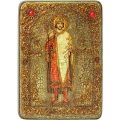 Инкрустированная икона Святой благоверный князь Борис 29х21см на натуральном дереве, в подарочной коробке