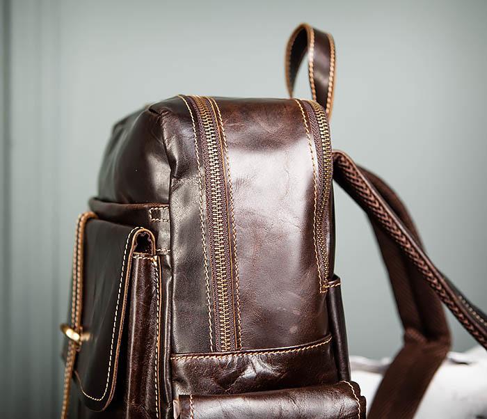 BAG460-2 Мужской городской рюкзак из натуральной кожи фото 05