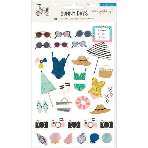 Стикеры Sunny Days от Crate Paper- Icons & Phrases W/Foiled Accents -202 шт. (8 листов 12х19 см )