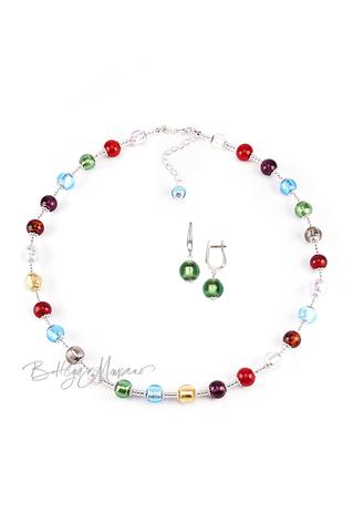 Комплект Carnavale Argento (зеленые серьги на серебре, ожерелье)