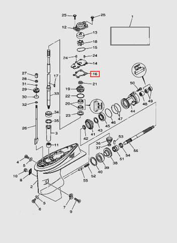 Прокладки корпуса помпы для лодочного мотора T40 Sea-PRO (23-16)