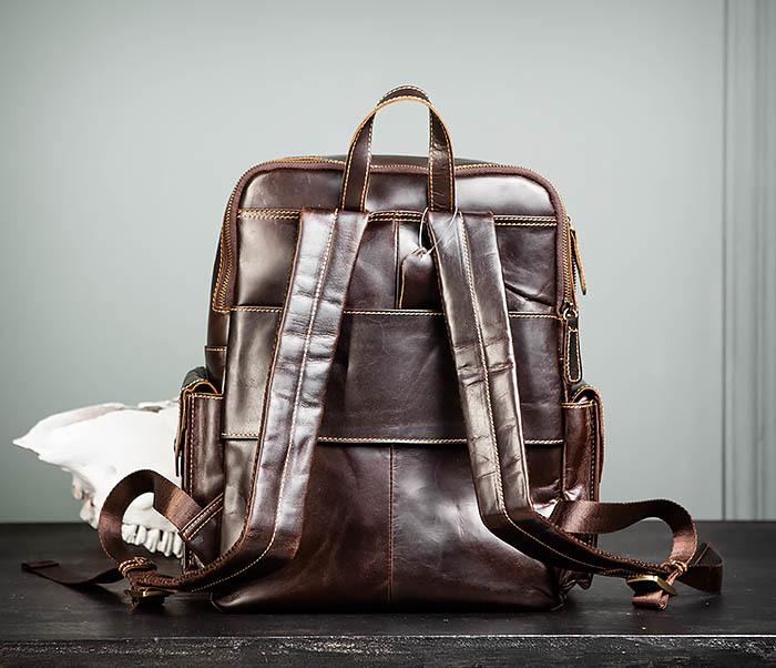 BAG460-2 Мужской городской рюкзак из натуральной кожи фото 06