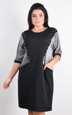 Афина. Стильное платье plus size. Серебро.