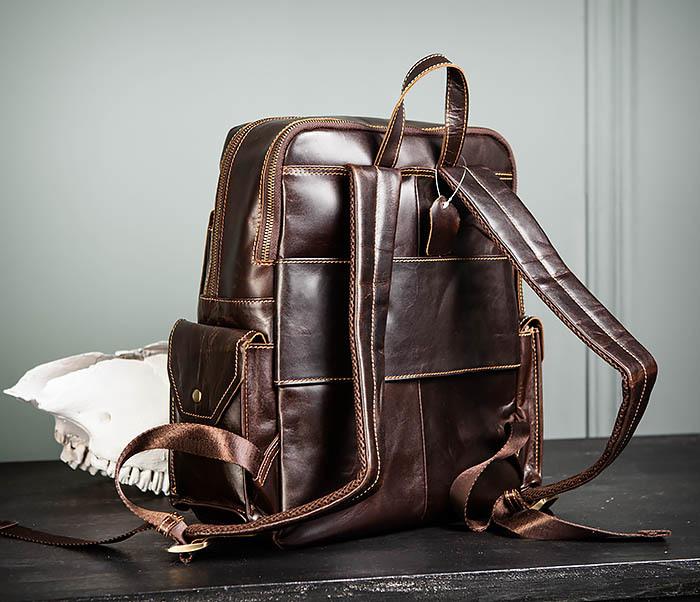 BAG460-2 Мужской городской рюкзак из натуральной кожи фото 07