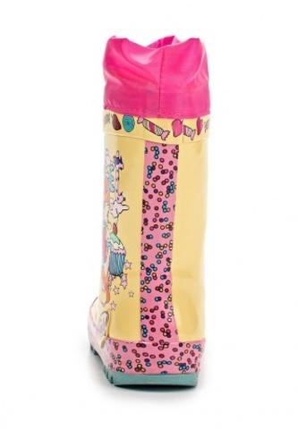 Резиновые сапоги Винкс (Winx) утепленные на шнурках для девочек, цвет желтый розовый. Изображение 4 из 8.