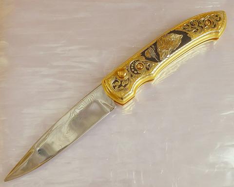 Нож складной дамасский