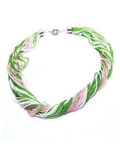 Бисерное ожерелье из 36 нитей, цвет розово-зеленый